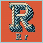Etched vector font set of engraved letters. Old school beveled alphabet. Character R