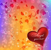 Beautiful abstract background with gradient and hearts. Vector illustration