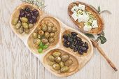 Black and green olives with feta cheese