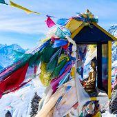 mountain scenery from gokyo ri with prayer flags - Nepal
