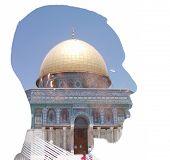 Man and Holy Muslim mosque masjid al-Aqsa