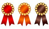 picture of rosettes  - Elegant blank award ribbon rosettes in shiny red orange and brown with gold isolated on white background - JPG