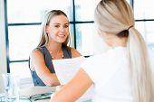 image of interview  - Young professional at job interview - JPG