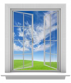 image of spring-weather  - Isolated white window frame with paned glass opening to a beautiful sky and spring weather - JPG