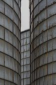 picture of silos  - Detail of three silos in juxtaposition - JPG