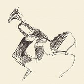 pic of trumpets  - JAZZ Man Playing the Trumpet  hand drawn - JPG