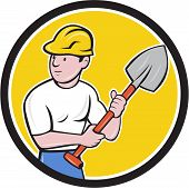 pic of spade  - Illustration of a builder construction worker wearing hardhat holding spade looking to the side set inside circle on isolated background done in cartoon style - JPG