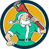stock photo of nicholas  - Illustration of a muscular santa claus saint nicholas father christmas carrying monkey wrench wearing green suit set inside circle on isolated background done in cartoon style - JPG
