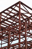 pic of girder  - Unfinished industrial building with an iron girder structure - JPG