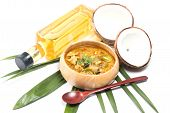 stock photo of thai cuisine  - Green pork Curry and Coconut - JPG