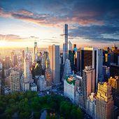 New York City Central Park at sunrise. New York background. New York City sunrise. New York Manhatta poster