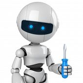 Funny robot stay with screwdriver