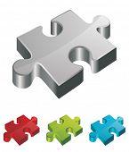 3d vector puzzle piece set