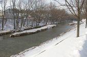 Ice Flow Buildup In River
