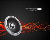 Speaker with waveform vector background. Eps 10