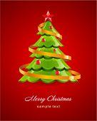 Glanzende kerstboom met rode ster vector kaart