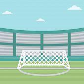 Background of soccer stadium. Soccer stadium with gate. Soccer field. Soccer arena. Soccer stadium v poster