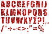 Red grunge alphabet