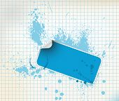 Blue sticker on a grunge background with ink splats