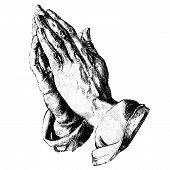 stock photo of obituary  - Praying hands available for obituaries or grave design - JPG