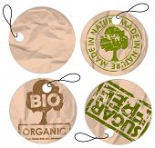 Set of round grunge tags for bio organic healthy food