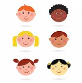 Cute multicultural children heads icons - isolated on white