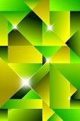 Cubismo moderno abstrato - verde e amarelo