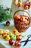 Постер, плакат: Apples On White Table Sweet Apples On Table On Bright Backgrou