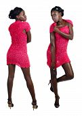 African Woman In Pink Mini Dress