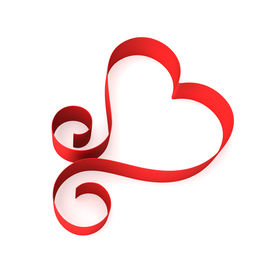 picture of valentine heart  - Valentine heart from red ribbon - JPG