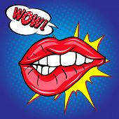 Sweet Sexy Pop Art Pair Of Glossy Vector Lips. Open Sexy Wet Red Lips With Teeth Pop Art Set Blue Ba poster