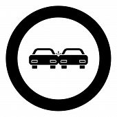 Crashed Cars Icon Black Color In Circle Vector Illustration Isolated poster