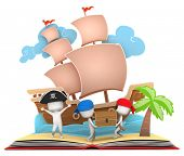stock photo of pop up book  - 3D Illustration of Pirate Kids Carrying a Treasure Chest on Popup Book - JPG