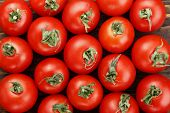 Fresh Tomatoes. It Can Be Used As Background. (selective Focus).delicious Red Tomatoes. A Pile Of To poster