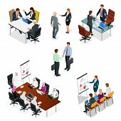Isometric Business People Talking Conference Meeting Room. Team Work Process. Business Management Te poster