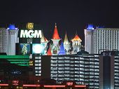 LAS VEGAS, NEVADA - Sept 7: MGM Grand, Excalibur and the Tropicana Resorts on the strip. Vegas has 147,611 hotel rooms with a average daily rate of $106 on September 7, 2011 in Las Vegas, Nevada.