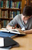 Retrato de un guapo estudiante escribir un ensayo en una biblioteca