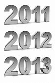 stock photo of upcoming  - Upcoming years 2012 and 2013 as chrome digits over white background - JPG