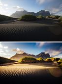 Beautiful view of yellow hills. Location place Stokksnes cape, Vestrahorn (Batman Mountain), Iceland poster