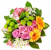 stock photo of flower arrangement  - Bright bouquet shot from above isolated on white - JPG