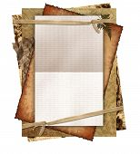 old papers tied with ribbon and blank space for text or photo