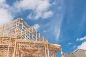 Close-up New Build Gables Roof Wooden Truss, Post, Beam Framework poster