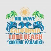 Surfing California, T-shirt  Surfing Long Beach, Water Sports, T-shirt Inscription Typography, Graph poster