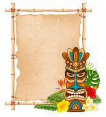 Tiki Tribal Wooden Mask, Tropical Exotic Plants And Bamboo Signboard. Hawaiian Traditional Elements. poster