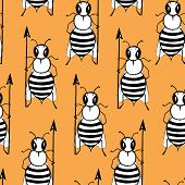 Seamless Pattern With Angry Killer Bees On The Orange Background. Soldier Bee With Pike. Killer Bees poster