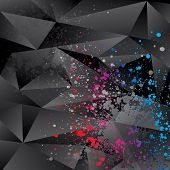 Abstract Background With Black Triangles And Color Sprays