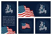 Set Horizontal, Vertical, Square Posters With Firework And American Flag. 4th Of July Lettering Insc poster