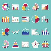 Business Data Graphs Stickers Icons. Financial And Marketing Charts Stickers. Market Elements Dot Ba poster