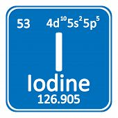 Periodic Table Element Iodine Icon On White Background. Vector Illustration. poster