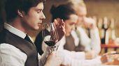 Professional Sommelier Tastes Red Wine In Restaurant. Sommelier Checks Aging Of Wine. Wine Tasting. poster